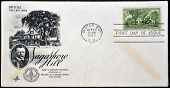 A stamp printed in USA shows Home of Theodore Roosevelt Opening of Sagamore Hill