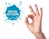 Happy ok fingers with social network sign and icons isolated on white