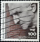 a stamp printed in Germany shows Anton Bruckner