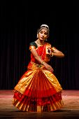 CHENNAI, INDIA - SEPTEMBER 28: Bharata Natyam dance performed by female exponent on September 28, 20
