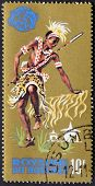Stamp printed in Burundi show Tribal Dancers and musician