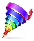 creative art pencil design concept with spiral of color rainbow ribbon isolated on white background