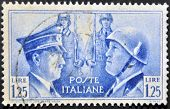 mail stamp printed in Italy showing Hitler and Mussolini face to face