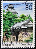 JAPAN - CIRCA 2000: A stamp printed in Japan shows Kocki city and castle circa 2000