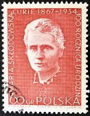 stamp printed in Poland shows Marie Sklodowska Curie