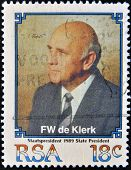 stamp printed in South Africa shows Frederik Willem de Klerk