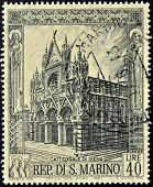 A stamp printed in San Marino shows Siena Cathedral Italy Circa 1967