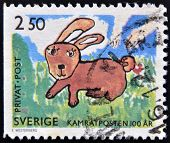 A Stamp printed in Sweden shows picture of a bunny circa 1990