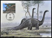 postcard printed in USA shows Brontosaurus