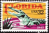 stamp printed in USA dedicatred to Florida shows a crocodile