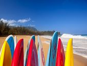 Tablas de surf en Kauai Lumahai Beach