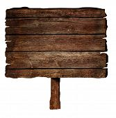 pic of sign-boards  - Wooden brown sign isolated on white background - JPG