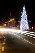 Christmas Decoration And Car Lights