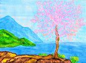 Pink Tree On Sea Coast, Painting