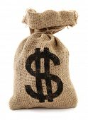 pic of sack dollar  - Burlap sack with dollar sign money bag - JPG