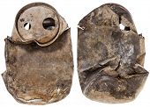 urban fossil - old crashed soda or beer can that spent years on a lake bottom