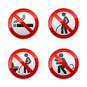 stock photo of fart  - Set prohibited signs  - JPG