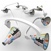 Many bullhorns or megaphones with the words Feedback, Opinion, Review, Answer, Reply, Criticism and