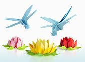 pic of dragonflies  - origami blue dragonfly over flowers lotus over white background - JPG