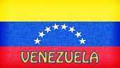 Flag Of Venezuela Stitched With Letters