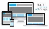 foto of touching  - Fully responsive web design in electronic devices vector eps10 - JPG