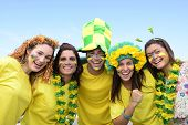 stock photo of swings  - Group of happy brazilian soccer fans commemorating victory - JPG