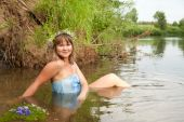 foto of undine  - Blonde girl in flower chaplet at river - JPG