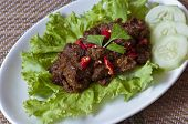 foto of wedding feast  - Spicy beef rendang with cucumber and salad - JPG