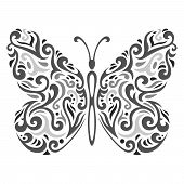 Abstract Mehndi Butterfly - Vector Illustration