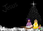 stock photo of manger  - Baby Jesus in a manger with Joseph and Mary - JPG