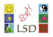 foto of lsd  - or poster shows lsd chemical and trip - JPG