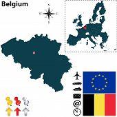 Map Of Belgium With European Union