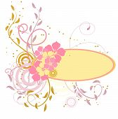 Pink Banner With Flowers. Vector Illustration