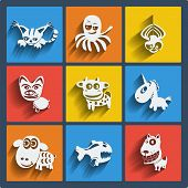 picture of octopus  - Set of 9 vector web and mobile animals icons in flat design - JPG