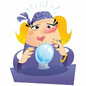 stock photo of clairvoyance  - Witch gypsy clairvoyant looking to a crystal sphere telling fate and destiny - JPG