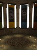 Columns With Banners And Candles