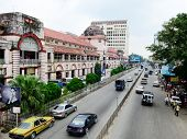 Outside view of Bogyoke Market in Yangon, Myanmar.