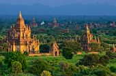 Temples at the sunset, Bagan, Myanmar.