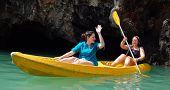 Travellers padding kayak in Phuket island, southern Thailand