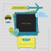 Baby Boy Shower or Arrival Card - Air Plane Theme - in vector