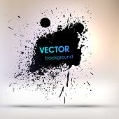 Black Paint Explosion, Abstract Background, Vector