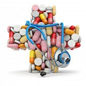Concept of medicine. Cross from drugs and stethoscope. 3d