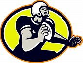 American Football Quarterback Retro Oval