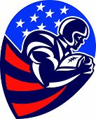 picture of scat  - Illustration of an american football gridiron rushing running back player running with ball facing side set inside shield shape done in retro style - JPG