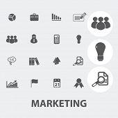 marketing icons set, vector