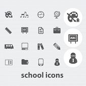 school, education icons set, vector