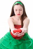 Woman With Heart In Hand Sad