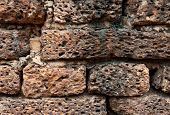 Close-up Of Old Brick In Sukhothai Historical Park,