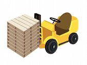 A Forklift Truck Loading Stack Of Wood Pallets