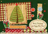 Scrapbook Christmas greeting card. Vector illustration. Print